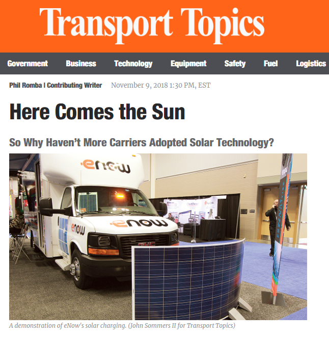 eNow featured in Transport Topics